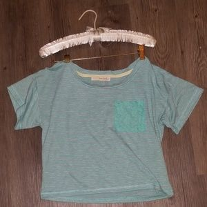 Lace Pocket XS Loose fit Crop Top T-Shirt tee
